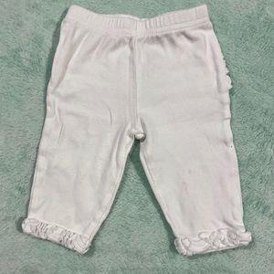 White Ruffle Leggings 0-3m